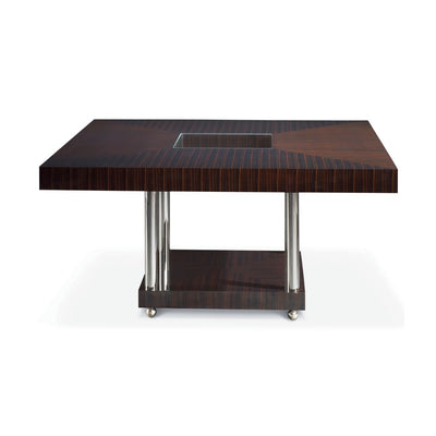 Matsuoka Duplex Dining Table, Square MOD008A High Gloss Macassar ebony with Inset Glass top Polished Stainless Legs and Bun Foot