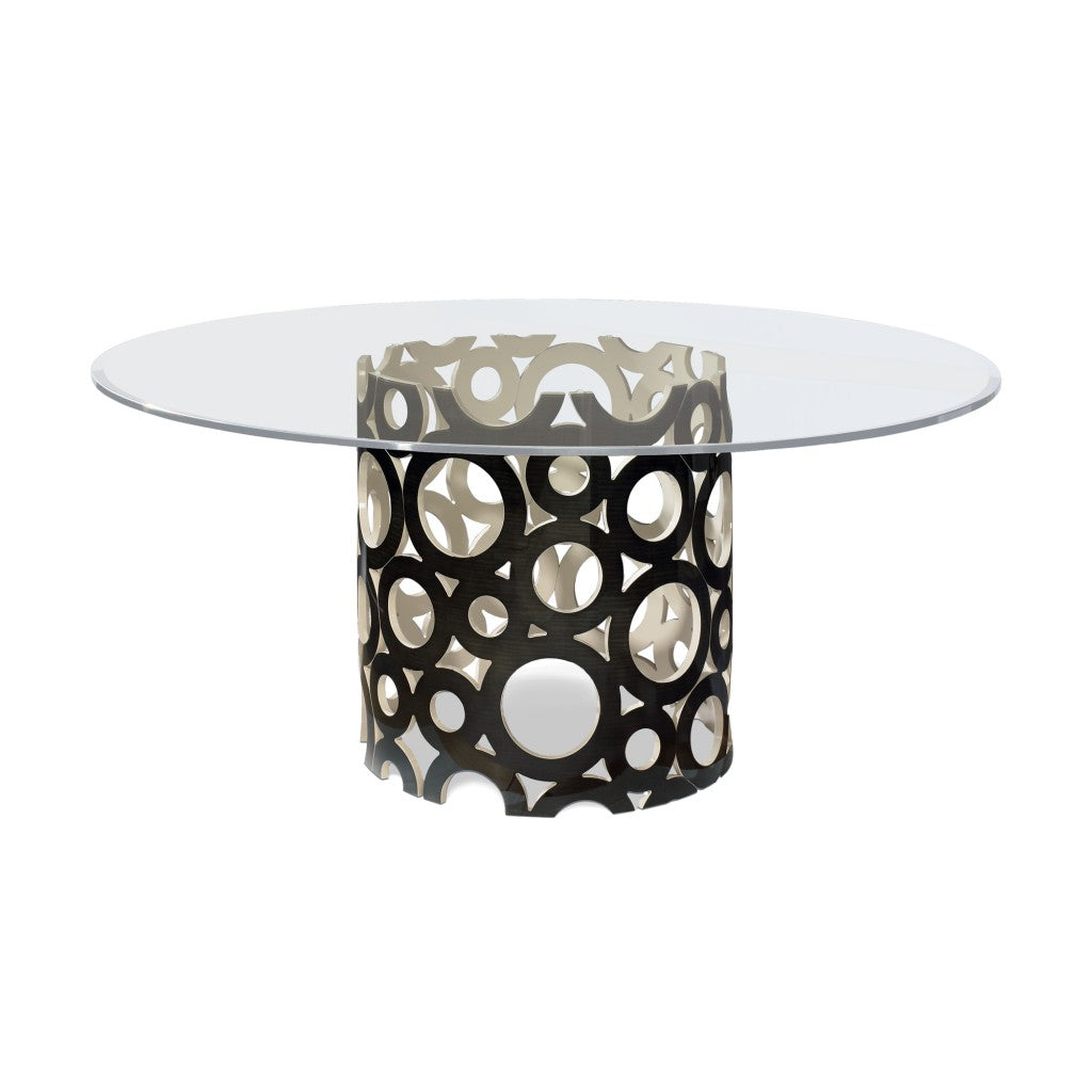 Matsuoka Bubbles Table MET014B-ch Charcoal Sycamore with Creame Carl Lacquer Interior