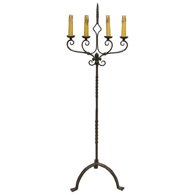Italian Wrought Candelabra Iron Floor Lamp. 19th Century