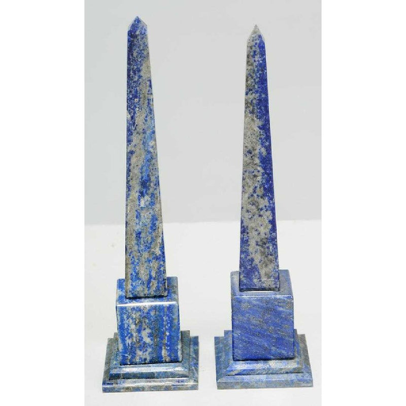 "Pair of Lapis Azul Obelisks  8 1/4"" Ht."