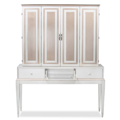 White 7 Champagne entertainment cabinet with middle door open.
