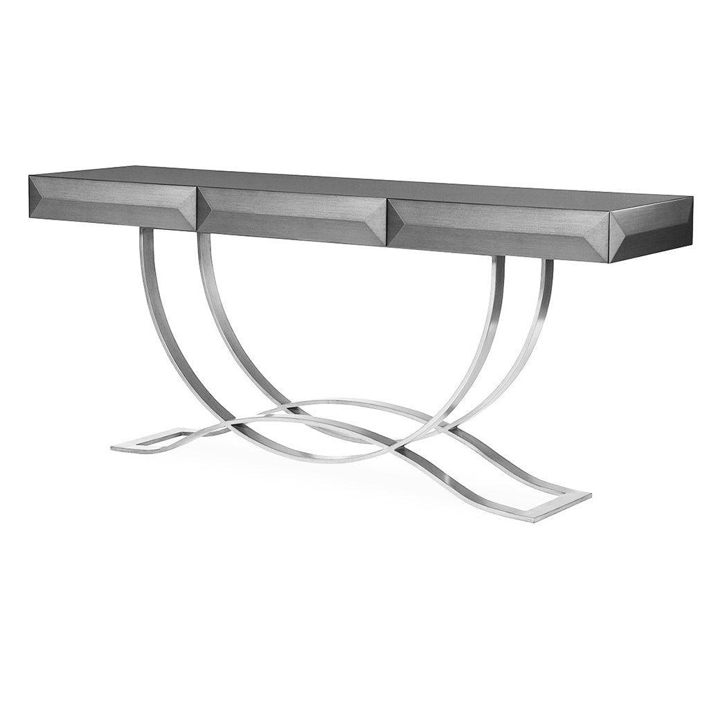 3 drawer gray console with polished stainless steel base