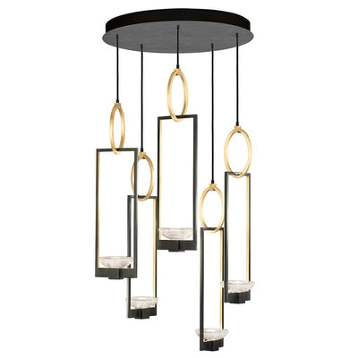 Delphi Pendant 893040-3ST in black finish with gold accents