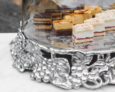 Grape Cake Stand Glass Dome