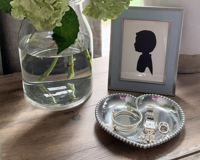 Engravable Beaded Heart Tray