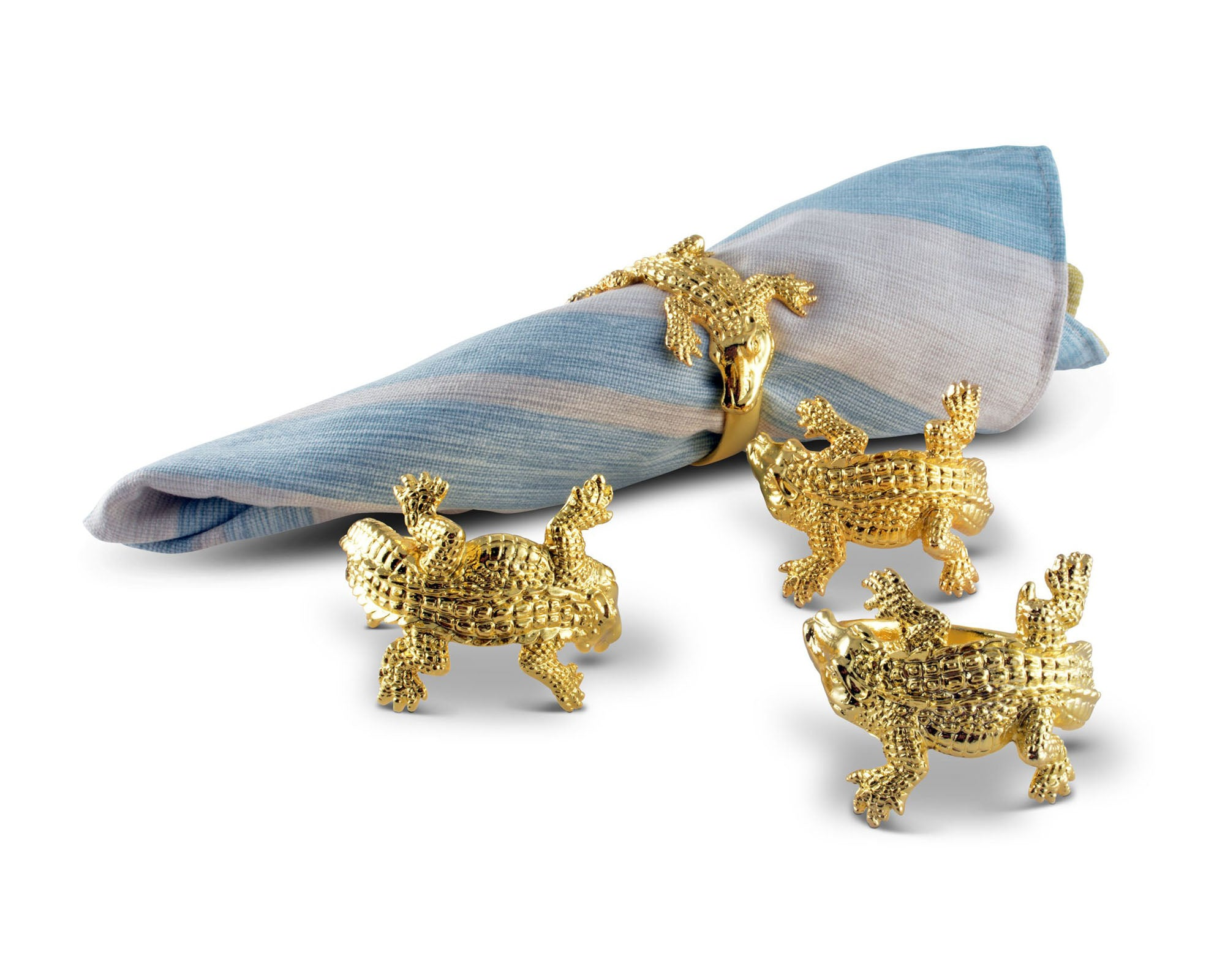 Gold Alligator Napkin Rings