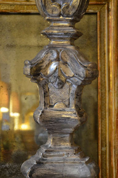 Italian Antique Silver Gilted Altar Candlesticks 19th Century Close Up View Detail Body Candlestick