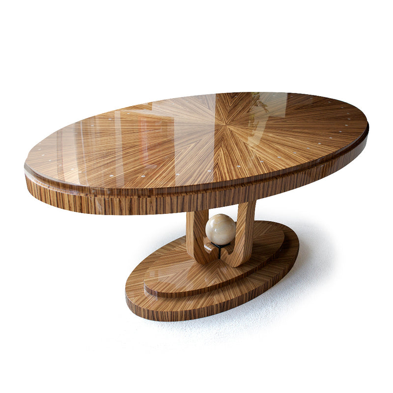 high Gloss Zebrawood Oval Dining Table, Martin Perri Interiors, San Francisco, Carmel, Los Angeles