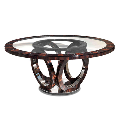"Macassar Ebony Dining Table with Elliptical Base 70"" Diameter, Maritn Perri Interiors Los Angeles, New York, San Francisco, Carmel"