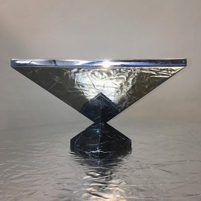 Polished Stainless Vase with Marble Base