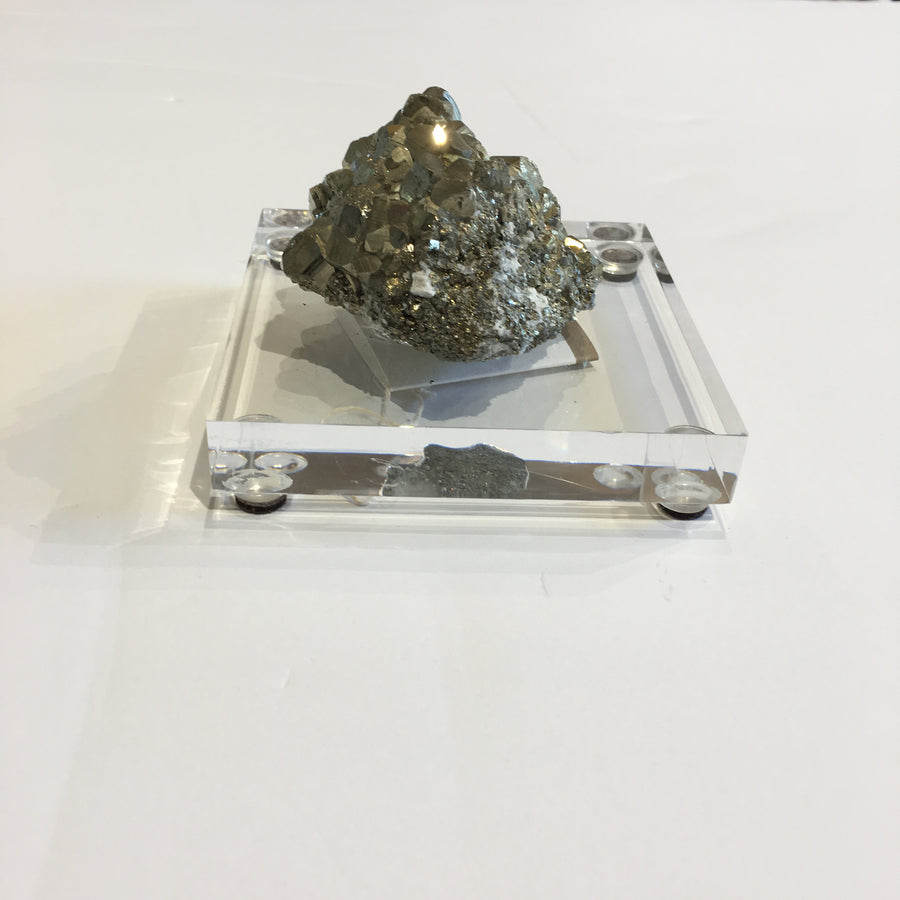 Pyrite Crystal Aggregate mounted on Acrylic