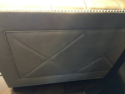 Leathercraft  leather Sofa Taupe Leather with Polished Nickel Nailhead