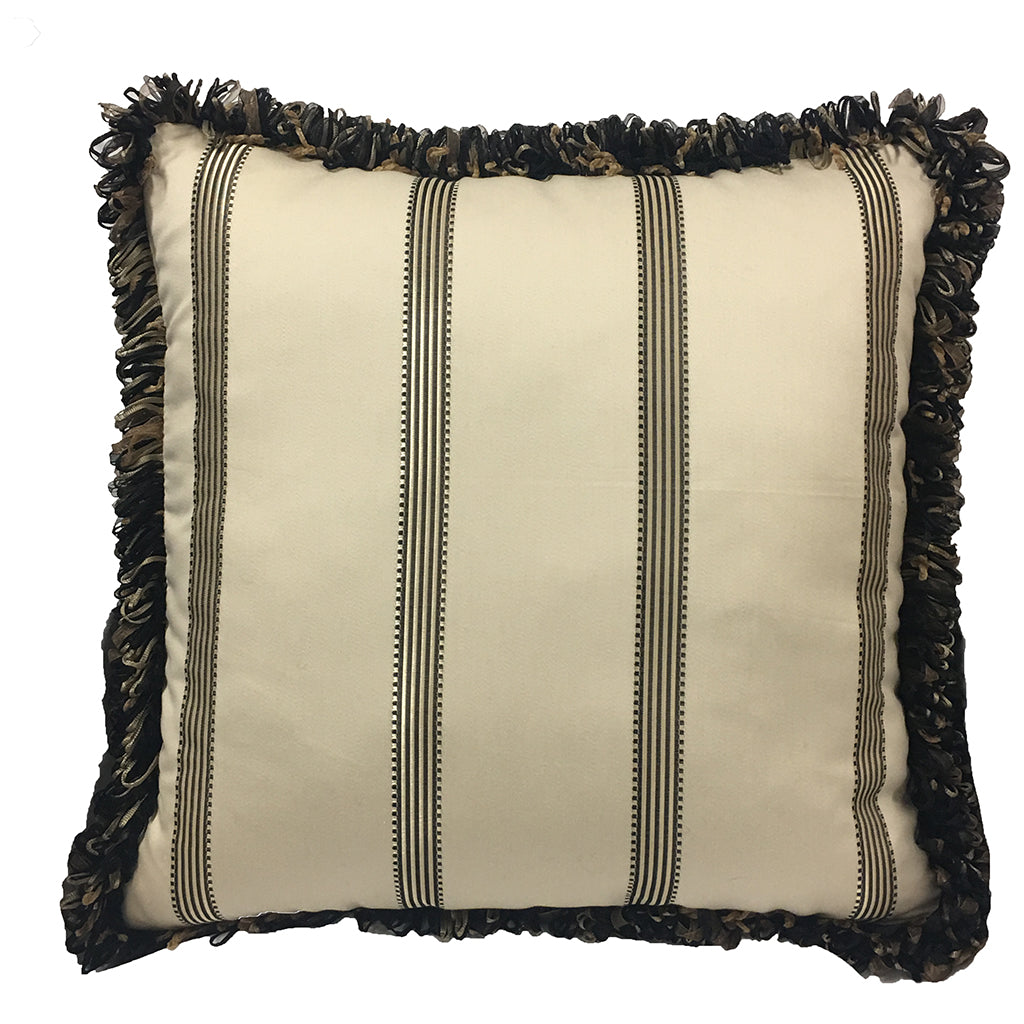 "18"" Accent Throw Pillow Platinum Black on Cream Cotton with Robert Allen Loop Fringe"