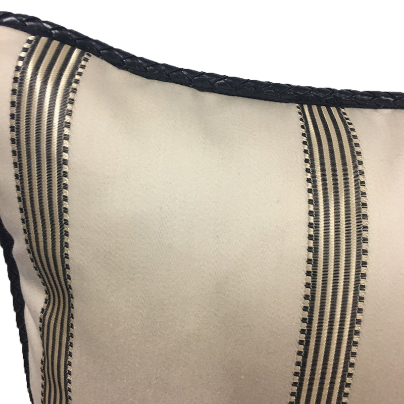 "Stroheim and Roman 18"" Accent Throw Pillow Platinum Black on Cream Cotton with Black 1/4"" Leather Cord"