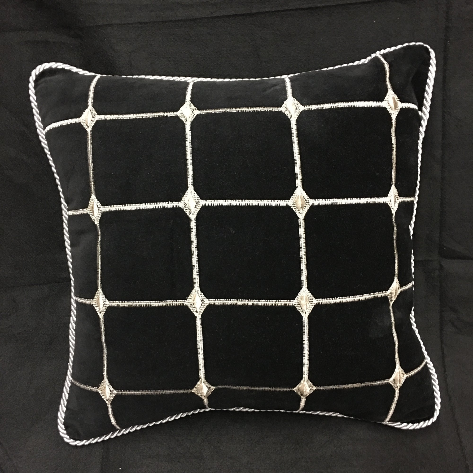 Black Velvet Accent Pillow with metallic silver Cord Trim