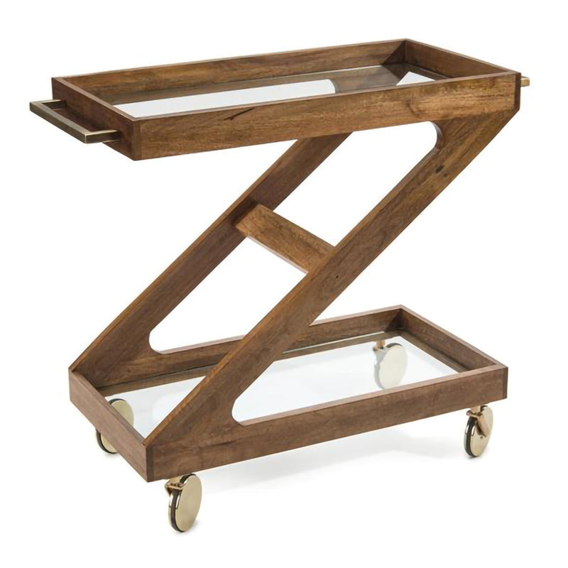 Rolling Wood Bar Cart