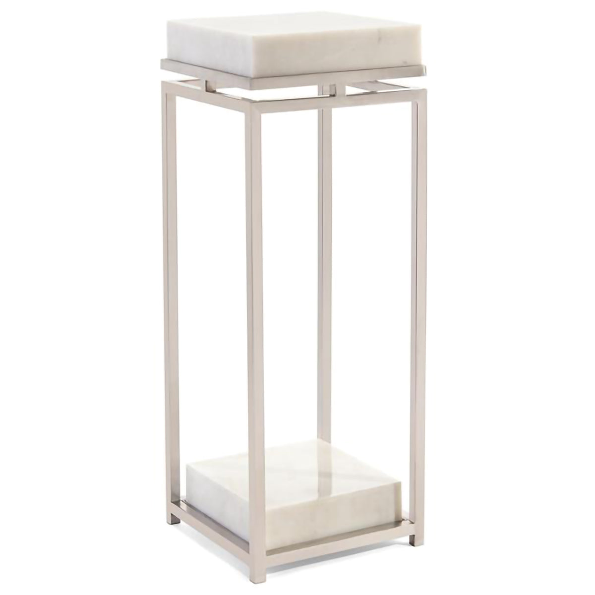 Elegant Stainless Steel and Marble Pedestal