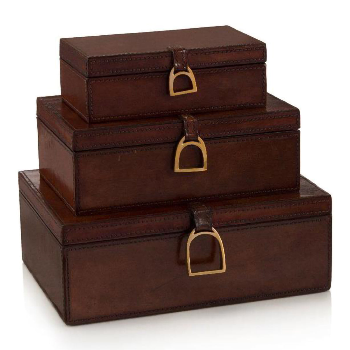 Set of 3 Lacquered Hazel Leather Boxes