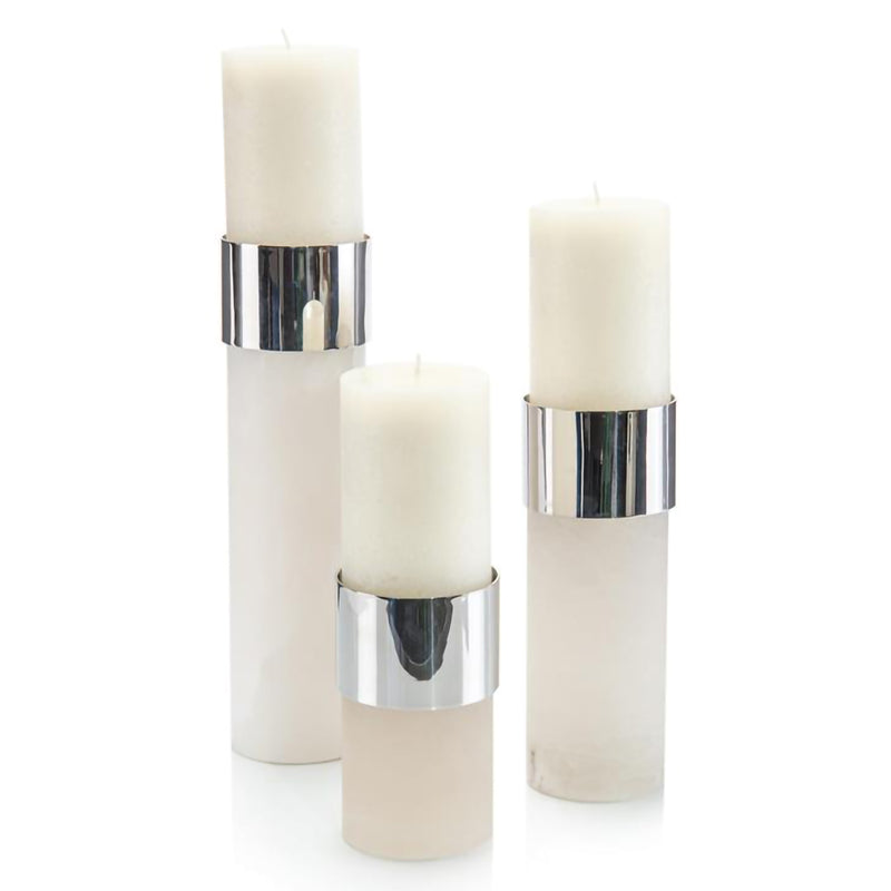 Set of 3 Alabaster and Polished NIckel Candle Holders