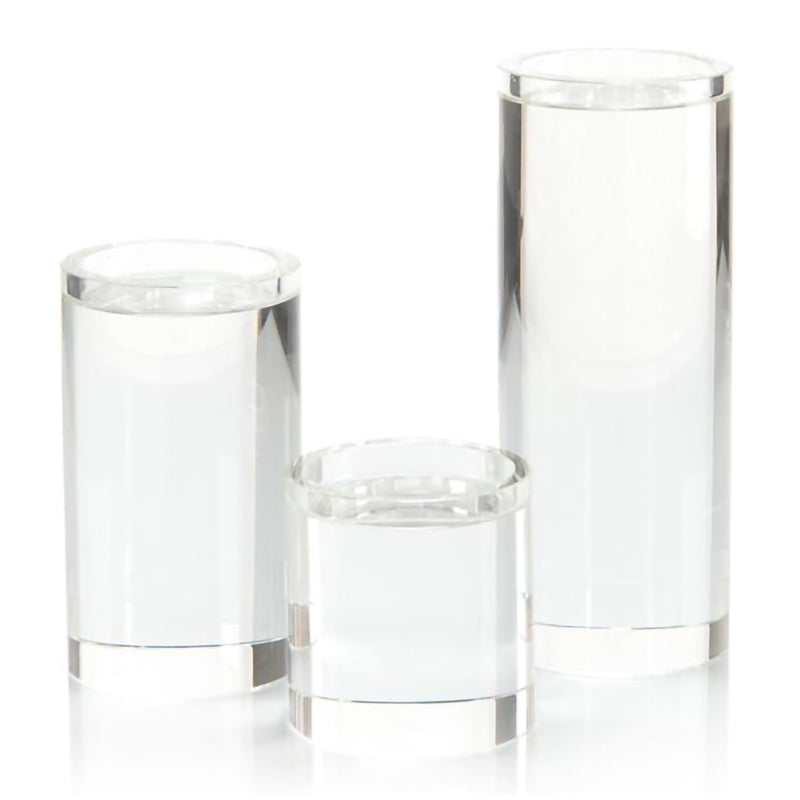 Set of 3 Pillar Crystal Candleholders