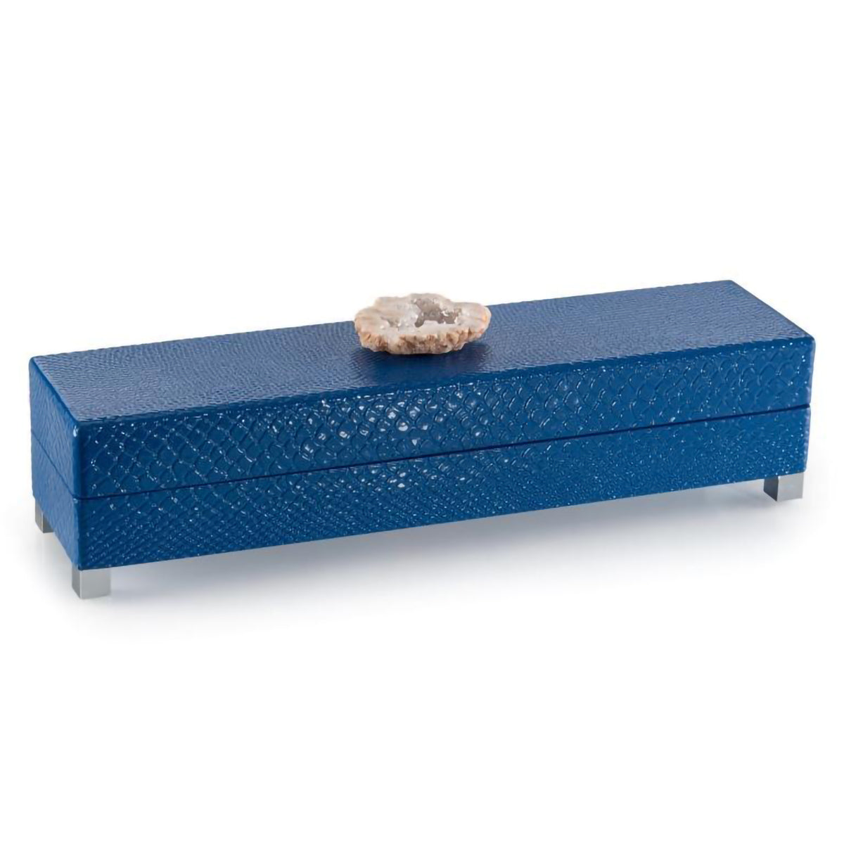 Indigo Embossed Box with Stone Accent