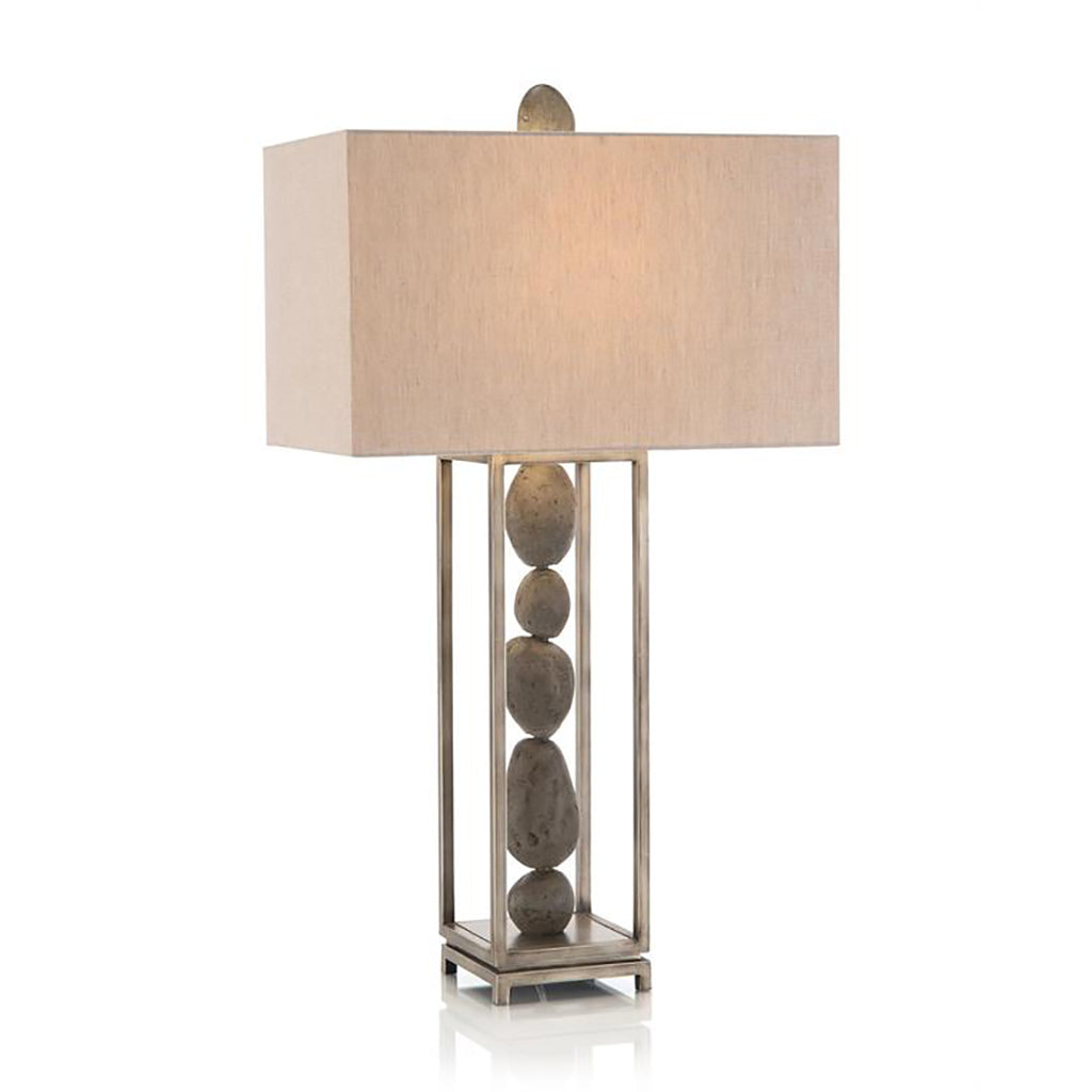 Framed River Rock Table Lamp