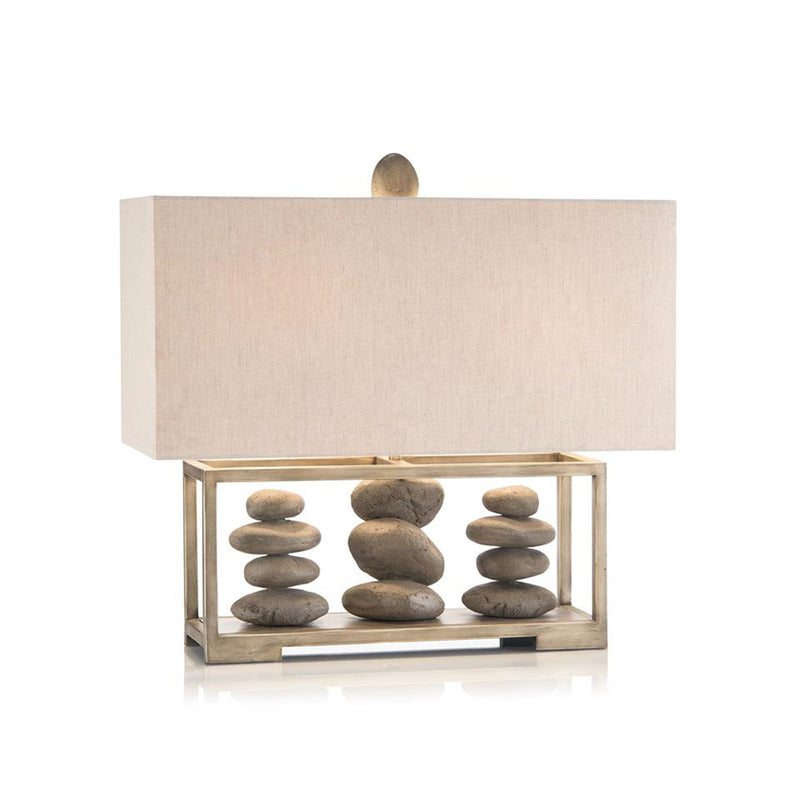 Framed Stacked River Rock Table Lamp