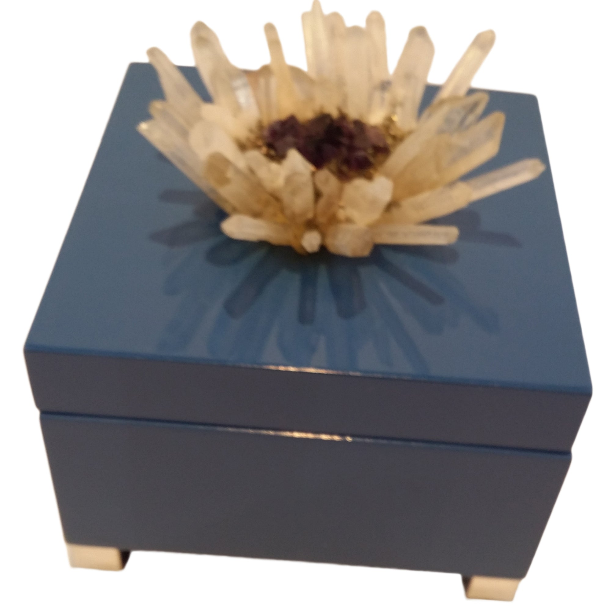 "Decorative Box with Quartz Crystal Embellished top Pull. Dimensions: 6"" Square"