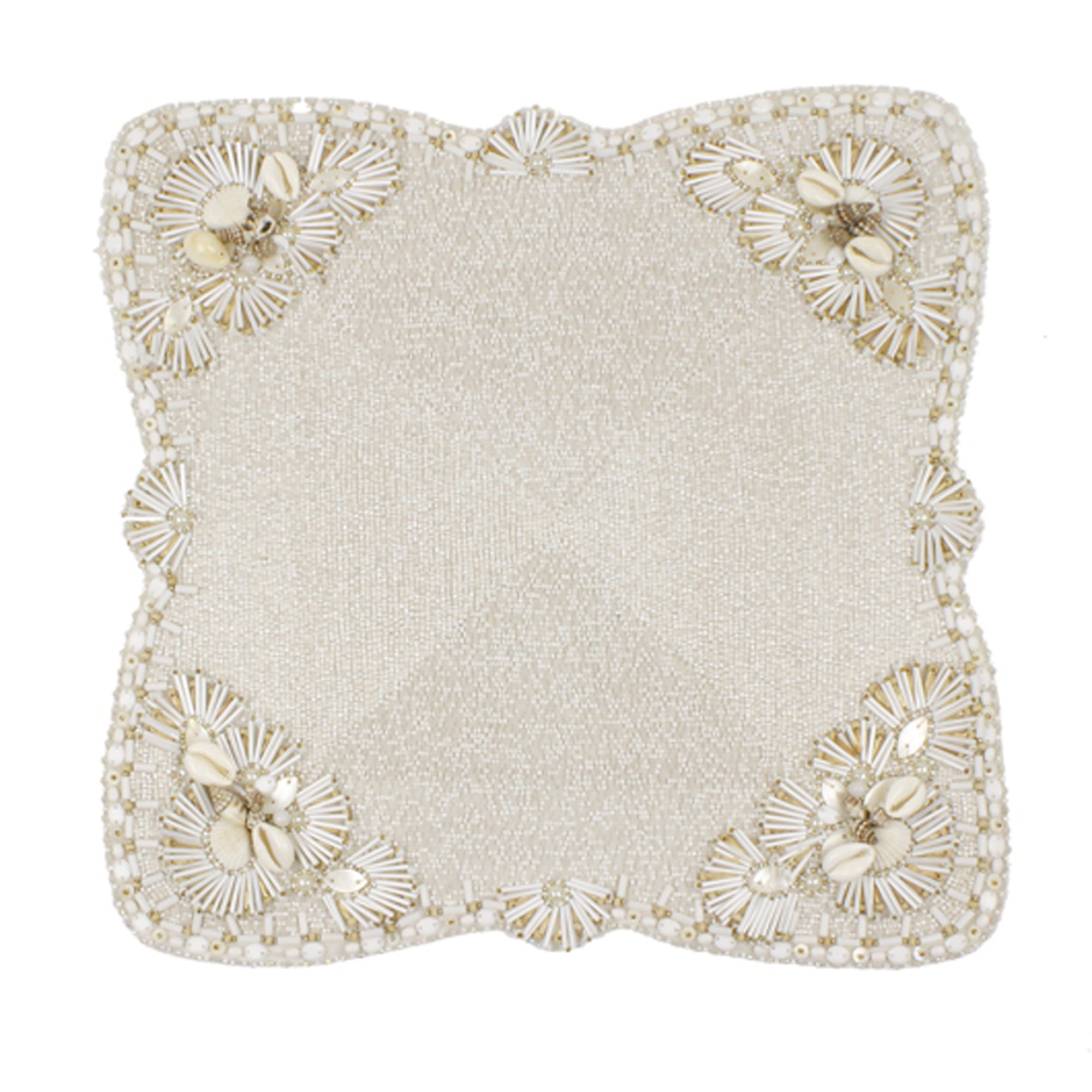 Trevi Placemats - Custom Embroidered Shell Motif