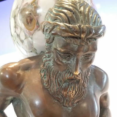 Maitland Smith Bronze Hercules carrying Marble Sphere