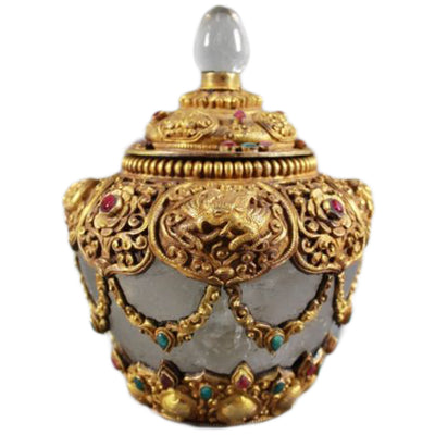 Side View Gilted Rock Crystal Jewel Encrusted Jar With Lid