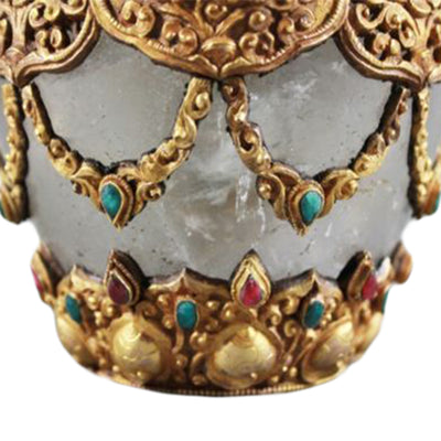 Antique Asian Jewel Encrusted vessel Rock Crystal  Close Up Jewel Gilt Crystal Jar