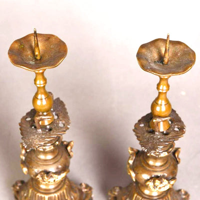 A PAIR OF BRONZE CANDLESTICK, SHOWA PERIOD