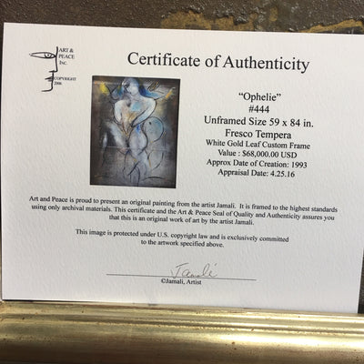 Certificate of Authenticy Original Painting by Jamali Fresco Tempura Ophelie