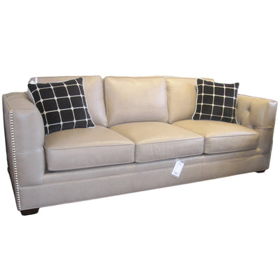 Leathercraft Sofa Taupe Leather with Polished Nickel Nailhead