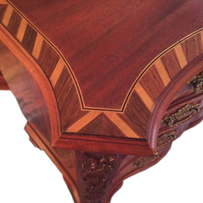 John Widdicomb Inlaid Drawer Chest Serpentine Front Top Detail