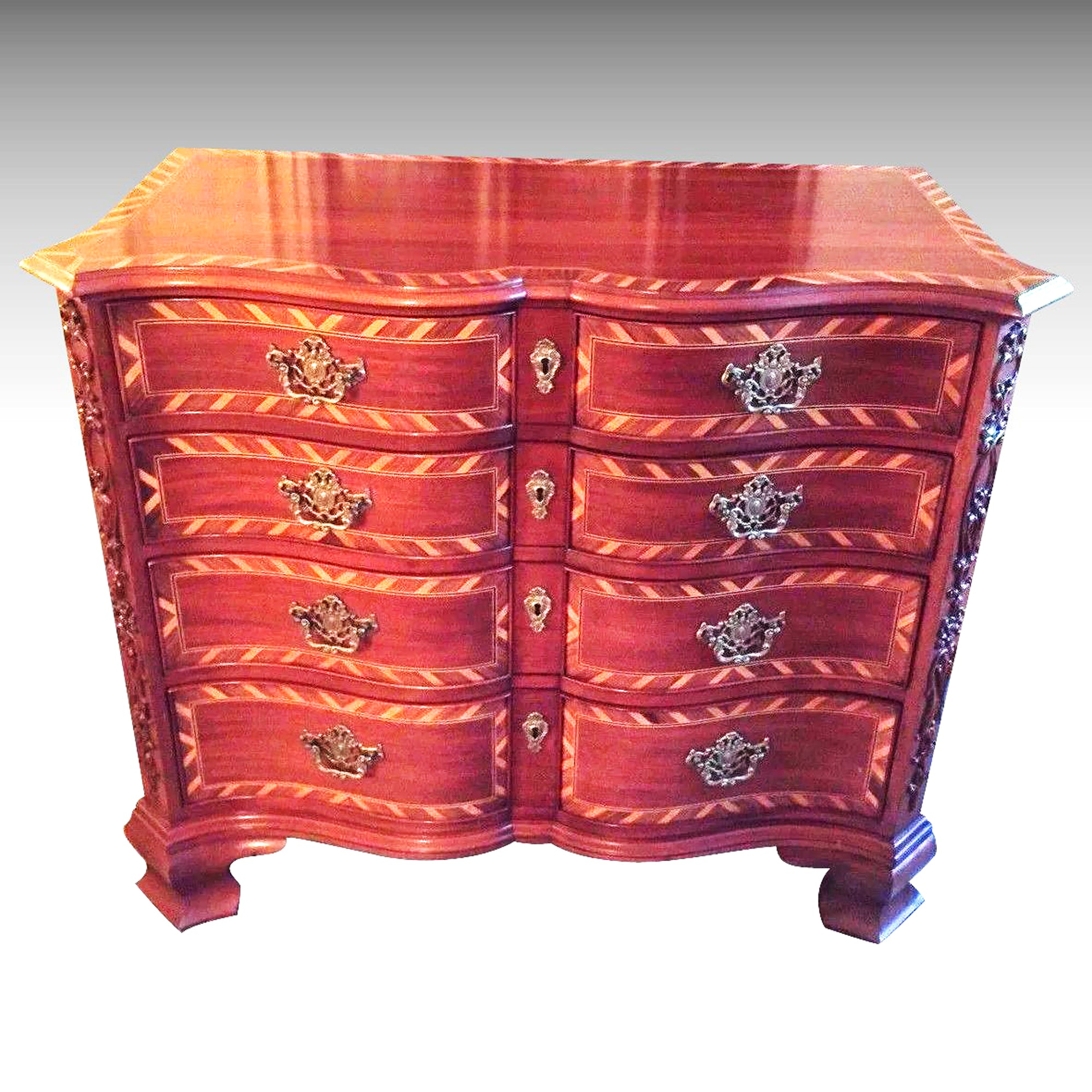 John Widdicomb Inlaid Drawer Chest Serpentine Front