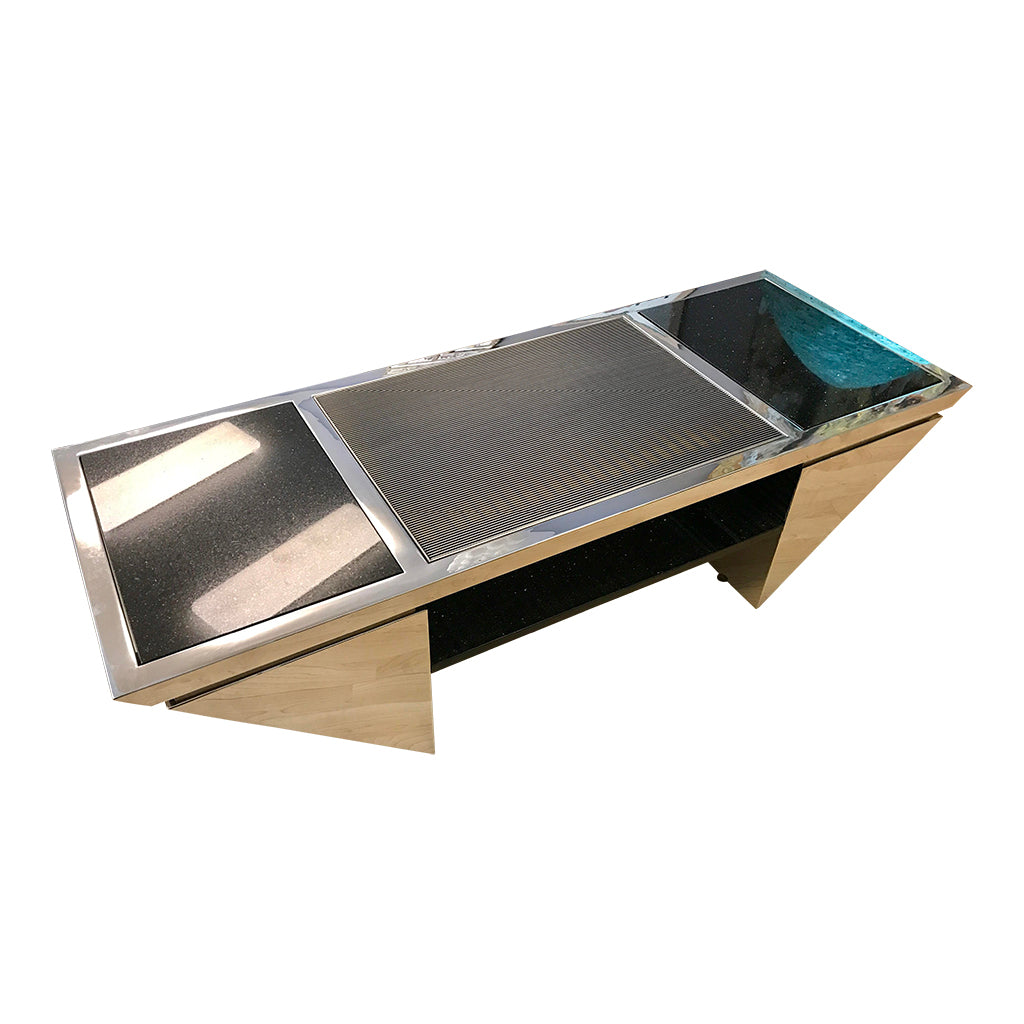 Brueton coctail Table Polished Stainless Steel and Black Granite