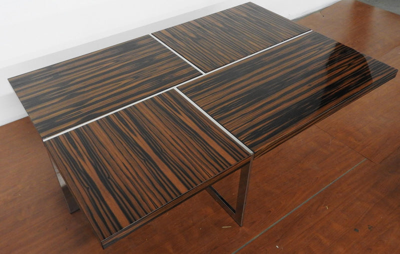 Brueton Cocktail Table Polished Stainless Steel with High Gloss Macassar Ebony