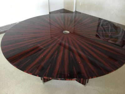 Art Deco, Dining Table with Polished Stainless Steel Accents
