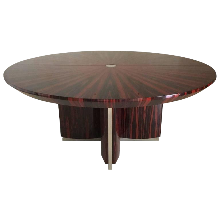 Art Deco, Macassar Ebony Dining Table with Polished Stainless Steel Accents