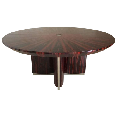 High End  Dining Table with Polished Stainless Steel Accents