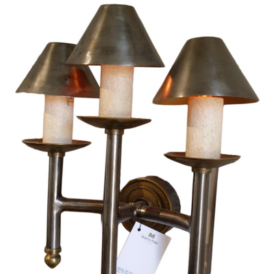 Wall Sconce Triple Tripod Gunmetal Finish