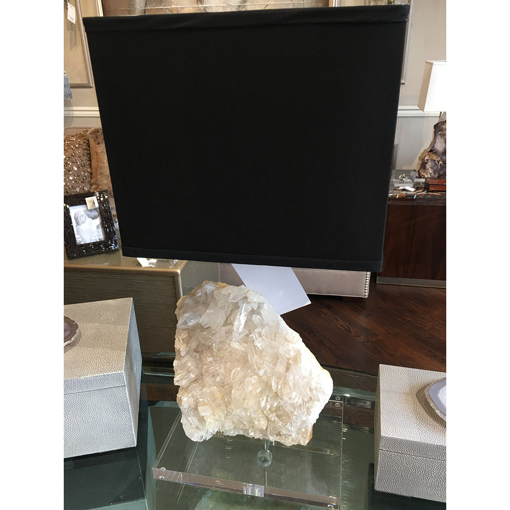 Crystal Lamp Mineral on Acrylic Base with Black Silk Shade