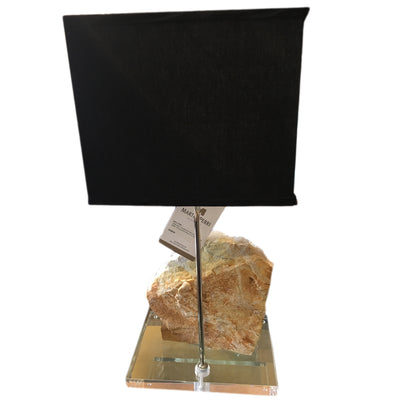 Crystal Table Lamp, Elegant Crystal Mineral on Acrylic Base with Black Silk Shade