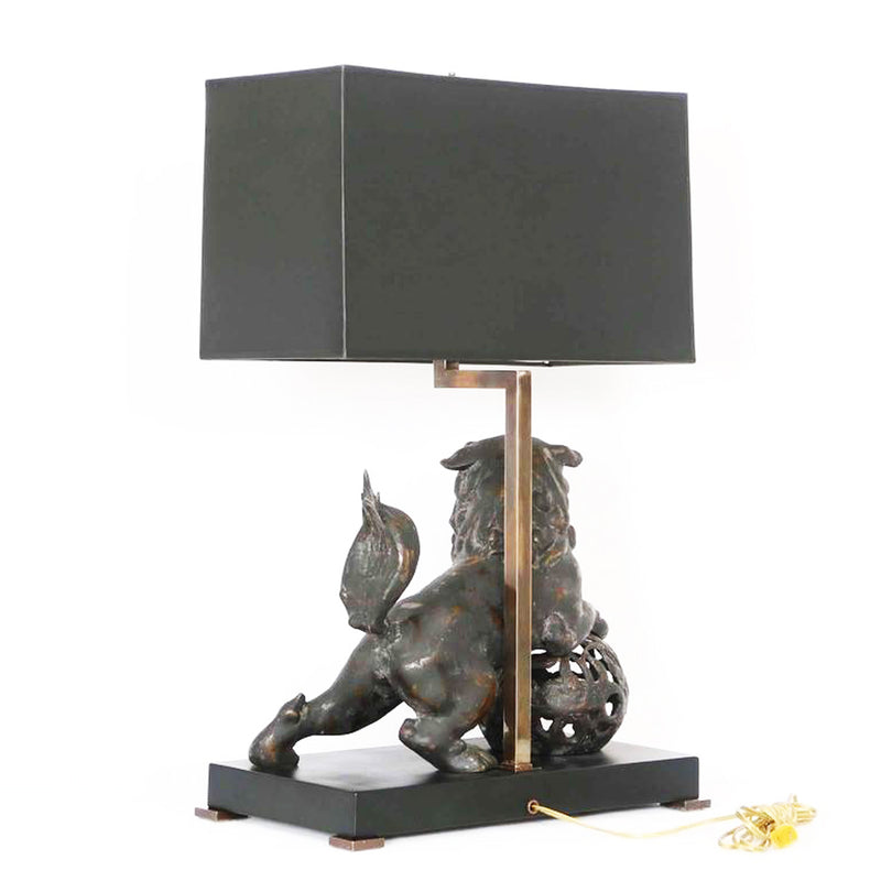 Table Lamp: Late 19th Century Chinese Bronze Foo Dog Lamp