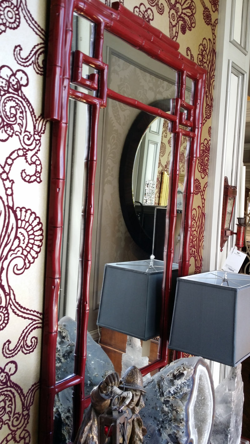 "Wall Mirror ""Oxbow Red"" Greek Key Bamboo Detail."