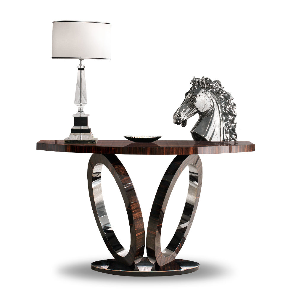 Elliptical Console High Gloss Macassar Ebony with Polished Stainless Steel, Martin Perri Interiors