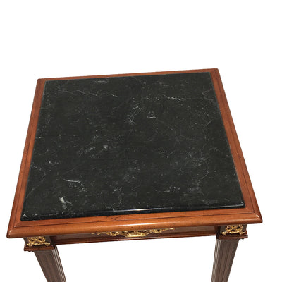 Negro Marquina Black Marble Top on End Table Empire