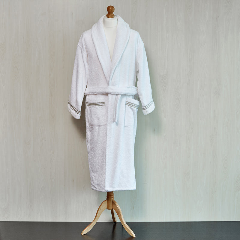 Folded White Robe with Taupe embroidered trim